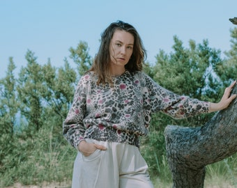 Leopard sweater vintage pullover printed hairy reglan sleeve oversized M Medium