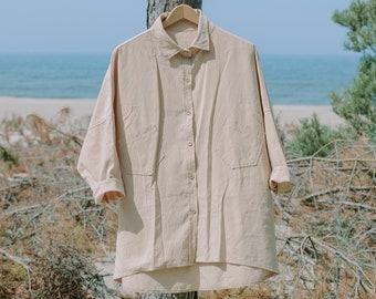 Beige shirt vintage oversized blouse collared 3/4 sleeve pockets women XL/XXL