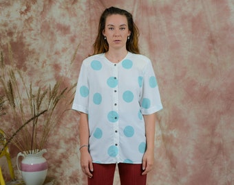 Dotted shirt vintage 80s women printed polka dots pattern short sleeve blouse padded shoulders XXL