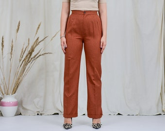 Ginger pants W28 L31 super high waist copper trousers wide leg red vintage 90s M Medium