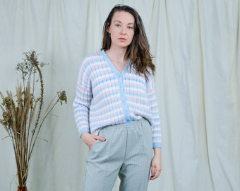 Striped sweater pastel cardigan vintage 80s M/L
