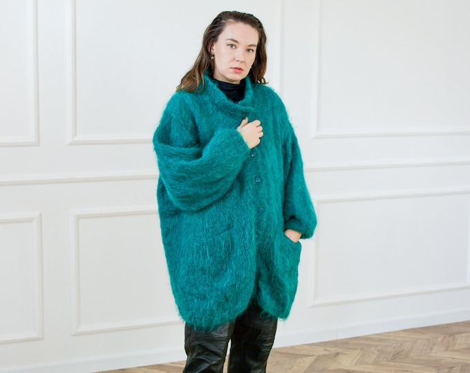 Featured listing image: Oversized hairy cardigan green jacket sweater vintage handmade lined padded shoulders one size L-XXXXL