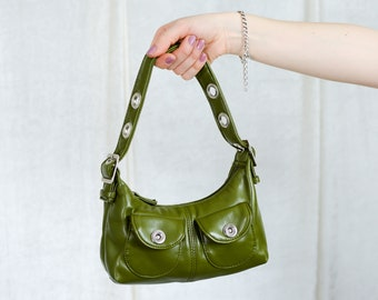 Green leather small handbag vintage