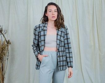 Via Moda check blazer vintage 80s wool jacket checkered XL