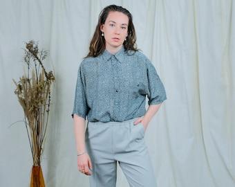 Silk shirt printed floral minimalist top short sleeve blouse vintage L/XL