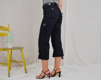 Black capri pants dark cargo trousers pockets mid waistVintage 90's L