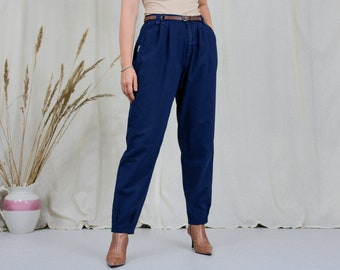 Navy blue mom pants W32 L31 high waist 80s pleated trousers vintage tapered leg XL