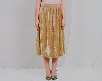 Gold velvet skirt vintage women bright sandy yellow metallic plaid high elastic waist XL-XXXL