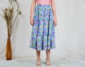 Floral skirt vintage 80s printed pleated multi colour flowers women elastic waist one size L-XXXL