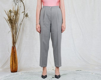 Gray pants pleated cigarillos vintage high waisted trousers tapered leg mod french minimalism XXL