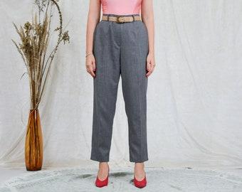Gray pants W36 L28 melange wool trousers tapered leg elegant vintage french minimalism XXXL