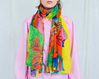 Big scarf spring summer coral reef rainbow fish printed sea animals square 42x69 inches / 107x175 cm