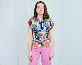 Printed top vintage 80s painting pattern tied waist blouse multi colour short sleeve retro M Medium