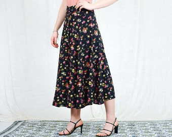 Floral skirt vintage button up down printed flowers high waist rayon XS/S