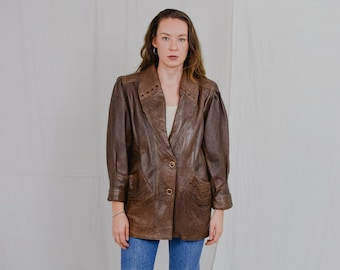 Italian leather jacket Vintage Beautifull Pelle brown warm coat genuine bronze puffy sleeve oversized M/L