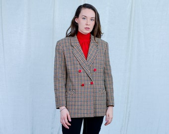 Checkered blazer 80s vintage suit top beige check jacket retro tail coat double breasted red buttons L Large