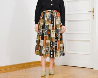 Pleated skirt Vintage 80's printed abstract geometric pattern elastic high waist universal size L-XXXL