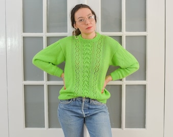 Neon green sweater Vintage 90's pullover sheer M Medium