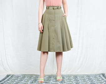 Military skirt vintage 80s Gerry Weber pleated khaki green pleated belted pockets XXS/XS
