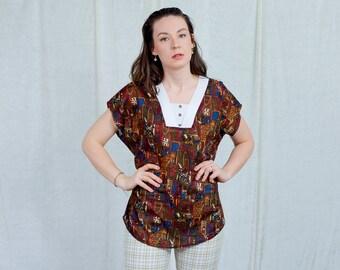 Printed blouse aztec blouse 80s vintage short sleeve top reglan shirt retro blouse patterned top L Large