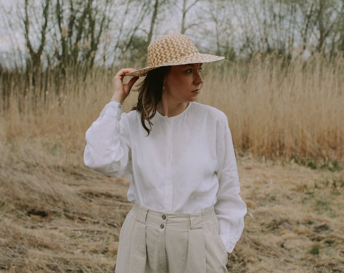Featured listing image: White linen shirt women minimalism retro blouse long sleeve button up down top L Large