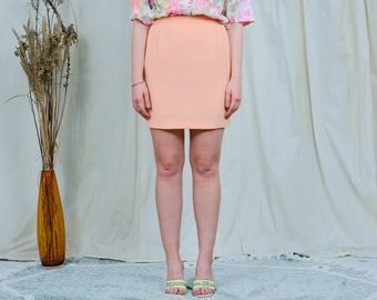 Peach mini skirt vintage summer 90s salmon women high waisted M/L