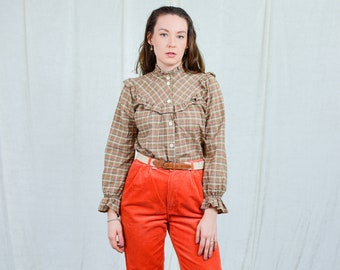 Checkered shirt french blouse 80s vintage pleated ruffle long sleeve shirt retro M/L