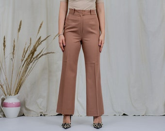 St Michael super high waist pants W31 L30 bell bottom leg caramel trousers vintage 80s L Large