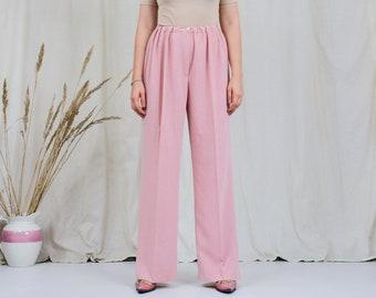 Salmon pants vintage super high waist pink wide leg relaxed fit trousers elastic waist XXL/XXXL