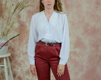White shirt vintage 90s puffy sleeve embroidered french blouse long sleever etro XL