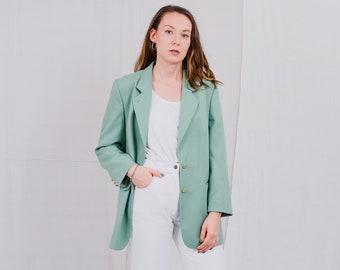 Green blazer vintage 80's suit women jacket padded shoulders tail coat retro oversized L Large
