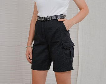 Black cargo style shorts high waist pockets bermuda military L Large