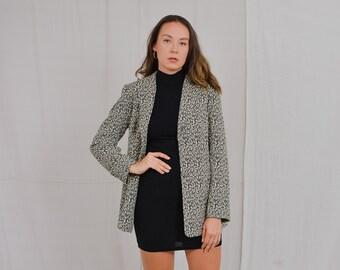 Textured blazer 90's vintage elegant jacket animal pattern print retro snakeskin tail coat L/XL