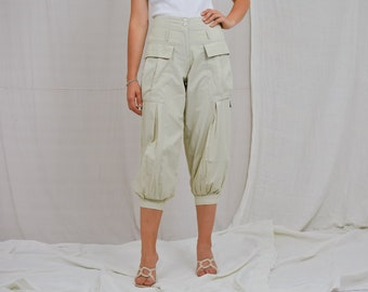 Ecru capri pants dark cargo trousers pockets high waist relaxed fit vintage 90's L Large