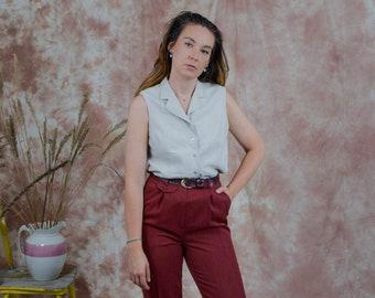 Linen sleeveless blouse vintage beige flax shirt button up down summer minimalist L Large