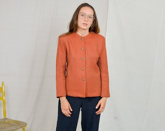 Camel Wool blazer Kathleen Archer Vintage 80's orange jacket red women lined retro L Large