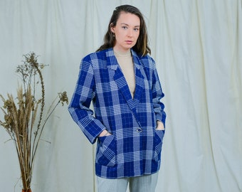 Blue check blazer rare silver metallic thread check jacket tail coat Elegance 80s vintage XL