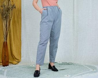 Blue white check pants super high waist trousers tartan elastic waist cotton L/XL