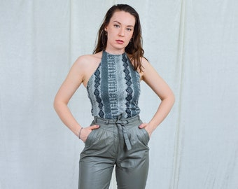 Faux snakeskin top vintage 90s backless blouse off shoulders gray sequins party sleeveless silver disco women strechy S/M