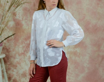 White roses shirt vintage 80s puffy sleeve embroidered mesh sleeve sheer french blouse long sleeve retro L Large