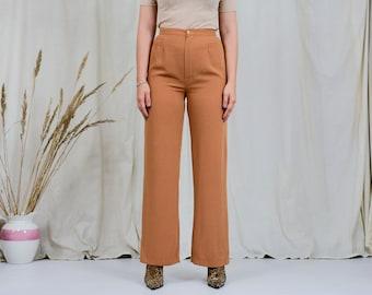 Super high waist pants W27 L31 orange wide leg caramel trousers vintage 90s M Medium