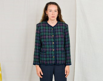 Wool blazer Alfred Dunner Vintage 80's navy blue green tartan jacket women Checkered lined retro L/XL