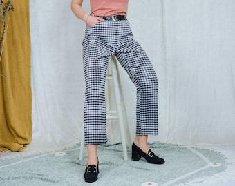 Black white check pants W34 L29 vintage trousers straight leg grunge punks tartan XXL