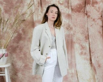 Linen cotton blazer vintage mens suit jacket minimalist beige oversized XL/XXL