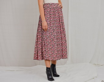 Floral skirt Vintage 90's red pink printed flowers pleated multi colour L/XL