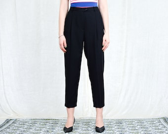 GERRY WEBER Black pants pleated cigarillos W30 L26 vintage super high waisted trousers wool tapered leg mod french minimalism L