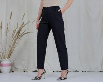 Black elastic waist pants vintage pleated cigarillos high waisted elegant tapered leg french minimalism L/XL