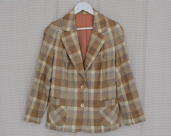 Checkered blazer Vintage 80's lined elegant check brown beige padded shoulders jacket tail coat XS/S