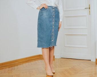 Cut off skirt Vintage 90s denim blue frayed asymmetrical button up down High waisted XL