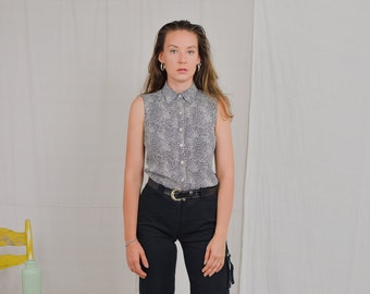 Anne Fontanie top printed sleeveless shirt animal print vintage blouse summer France collared gray leopard M/L